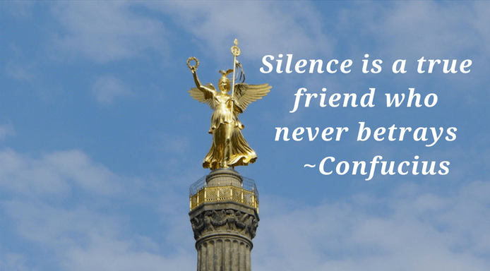 Silence is a true friend quote by Confucius