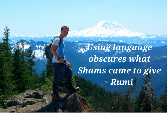 Using language obscures quote by Rumi