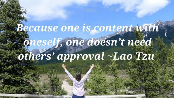 Self worth quotes - Because one is content with oneself quote on self worth by Lao Tzu